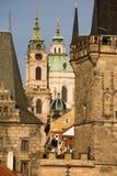 Prague bridge towers royalty free stock images