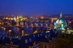 Prague bridges. At night, Czech Republic Royalty Free Stock Images
