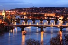Prague bridges. The Prague bridges over the river Moldau at sunset, Czech Republic Stock Photos