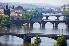 Prague bridges. On Vltava river Stock Image