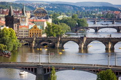 Prague bridges. On Vltava river Royalty Free Stock Photos
