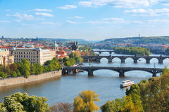 Prague bridges, aerial cityscape, Czech Republic Royalty Free Stock Photography