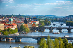 Prague bridges, aerial cityscape, Czech Republic Royalty Free Stock Photos