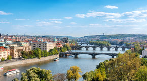 Prague bridges, aerial cityscape, Czech Republic Stock Photo