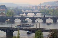 Prague bridges aerial view Stock Photos