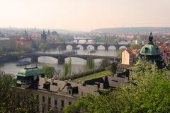 Prague bridges aerial view Stock Images