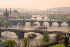 Prague bridges aerial view Royalty Free Stock Photo