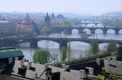 Prague bridges aerial view Royalty Free Stock Images