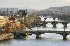 Prague bridges aerial view Royalty Free Stock Images