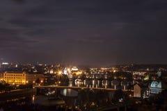 Prague bridges. All Prague bridges at night royalty free stock photos