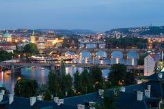 Prague bridges by evening. Evening view of Prague bridges over Vltava river by spectacular performance Navalis 2011 Royalty Free Stock Photo
