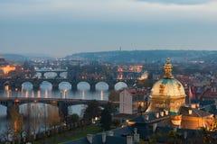 Prague bridges in the evening Stock Photo