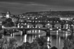 Prague bridges. Evening WB scene of city Royalty Free Stock Photography