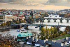 Prague bridges. Prague landscape with historical bridges and Vltava river Stock Photography