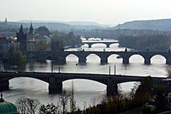 Prague bridges. Many bridges on the moldova river at prague in czech republic Stock Image