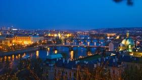 Prague bridges at night. Czech Republic Stock Photography