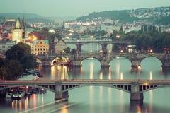 Prague bridges in the night Royalty Free Stock Photo