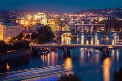 Prague bridges in the night Royalty Free Stock Images