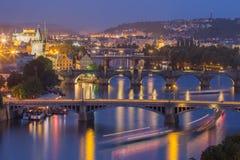 Prague bridges in the night Stock Images