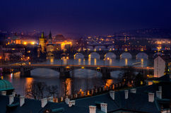 Prague Bridges night panorama Royalty Free Stock Image