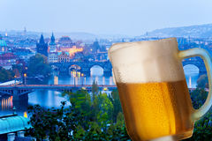 Prague bridges at night with pint Stock Image
