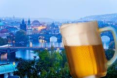Prague bridges at night with pint Stock Image