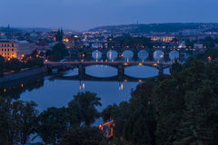 Prague bridges at night Stock Images