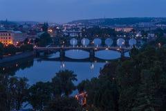 Prague bridges at night Stock Images
