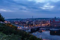 Prague bridges at night Stock Photography