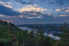Prague bridges at night Royalty Free Stock Image