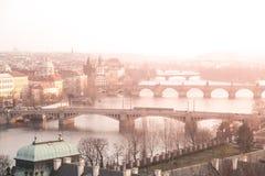 Prague bridges over Vltava river at sunset time, Czech Republic.  Stock Photography