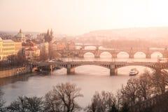 Prague bridges over Vltava river at sunset time, Czech Republic.  Royalty Free Stock Photos
