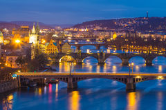 Prague bridges panorama during evening, Prague. Czech Republic Royalty Free Stock Photography