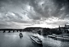 Prague bridges at sunset Royalty Free Stock Photography