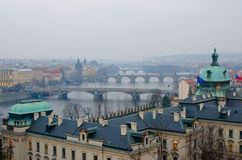 Prague Bridges sunset panorama, Prague Stock Photo