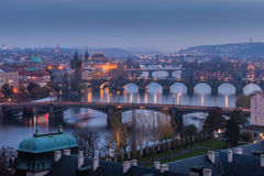 Prague bridges at sunset Stock Image
