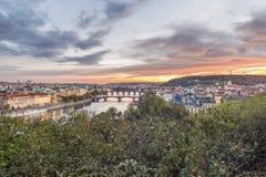 Prague bridges view Stock Image