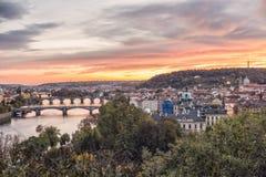Prague bridges view Stock Images