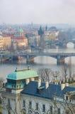 Prague Bridges,Vltava river breathtaking view. Prague Bridges and Vltava river breathtaking view, Bohemia, Czech Republic Stock Images