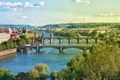 Prague Bridges and Vltava River in the Summer. Czech Republic Royalty Free Stock Images