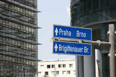 Prague and Brno sign stock images