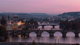 Prague broar Royaltyfria Foton