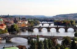 Prague broar Fotografering för Bildbyråer