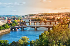 Prague broar i sommaren Royaltyfri Fotografi
