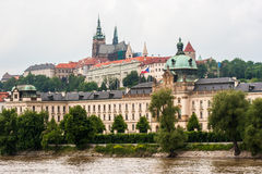 In Prague. Buildings in the Czech Republic, towering above the river Stock Photography