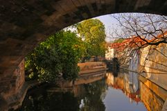 Prague canal Royalty Free Stock Images