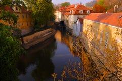 Prague canal stock photo