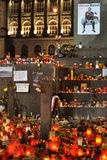 Prague, candle lights for Vaclav Havel. DECEMBER 20: Hundreds of people come to light a candle in honor of Vaclav Havel, who died on the streets of czech cities stock image