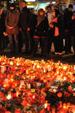 Prague, candle lights for Vaclav Havel. DECEMBER 20: Hundreds of people come to light a candle in honor of Vaclav Havel, who died on the streets of czech cities Royalty Free Stock Photo