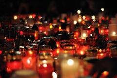 Prague, candle lights for Vaclav Havel. DECEMBER 20: Hundreds of people come to light a candle in honor of Vaclav Havel, who died on the streets of czech cities royalty free stock photography